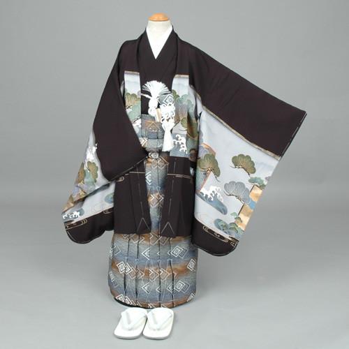 七五三 袴 黒地: 鷹に竜と屏風の衣装画像1
