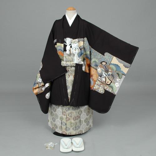七五三 袴 黒地:兜と白い鷹の衣装画像1