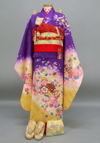 七五三 祝着 紫、黄色地:桜とてまり