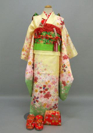 七五三 祝着 山吹色、赤地:桜、老松、蝶