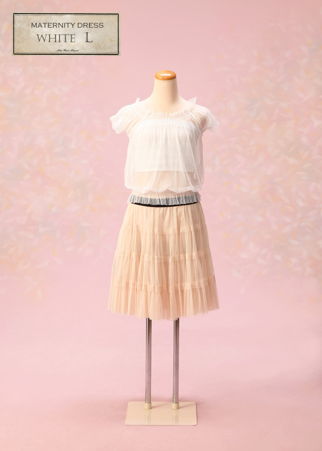 マタニティドレス 白 Lサイズの衣装画像1