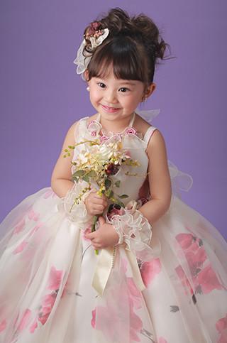 3歳ふんわりバルーンのピンクドレス