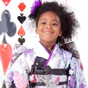 7歳女の子 紫×白