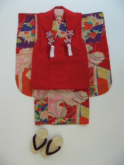 (T14)アンティーク扇面 赤被布の衣装画像1