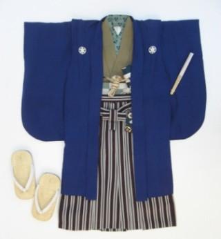 (T17)紺紋付羽織 茶鮫小紋