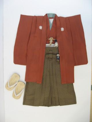 (T24)柿色紋付に青海波の袴