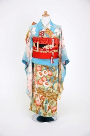 (T2)水色地 菊と桜に竹垣