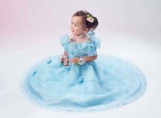 水色ロングドレス