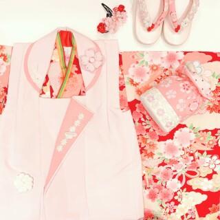 三歳 赤×ピンク被布