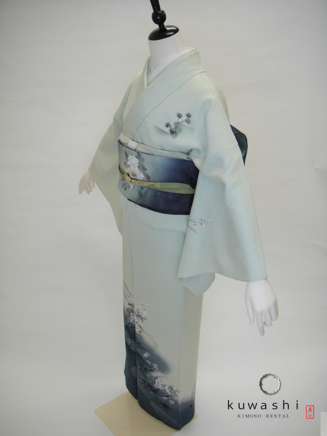 10081 ライトグリーン螺鈿正絹訪問着 染袋帯フルセットの衣装画像1