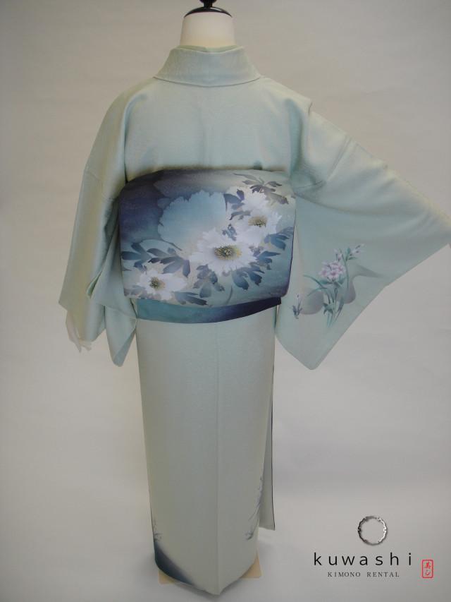 10081 ライトグリーン螺鈿正絹訪問着 染袋帯フルセットの衣装画像2