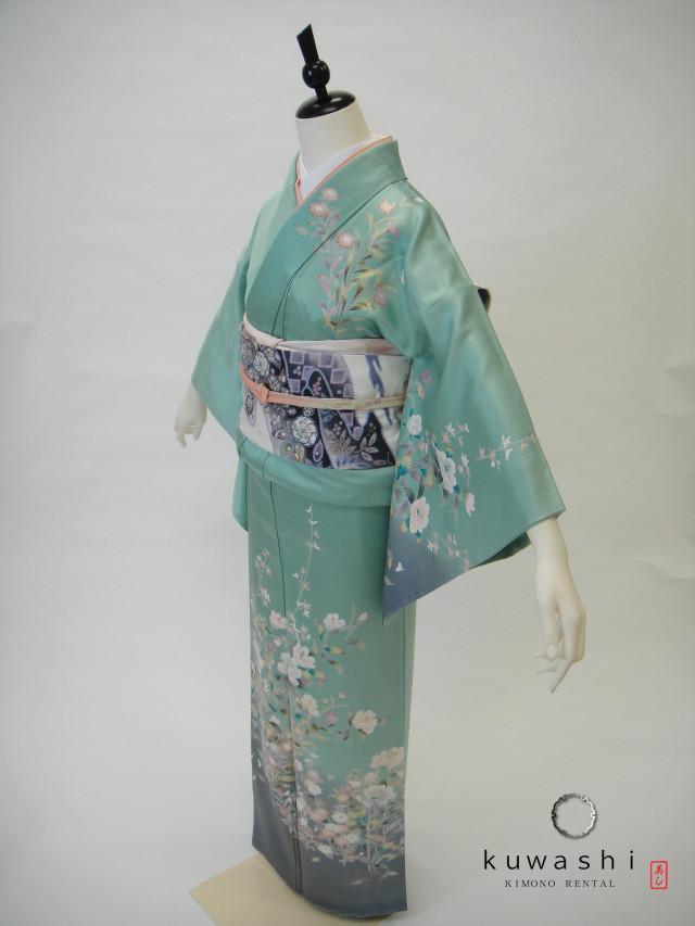 10014 ペパーミントグリーン正絹訪問着×辻が花袋帯セットの衣装画像1