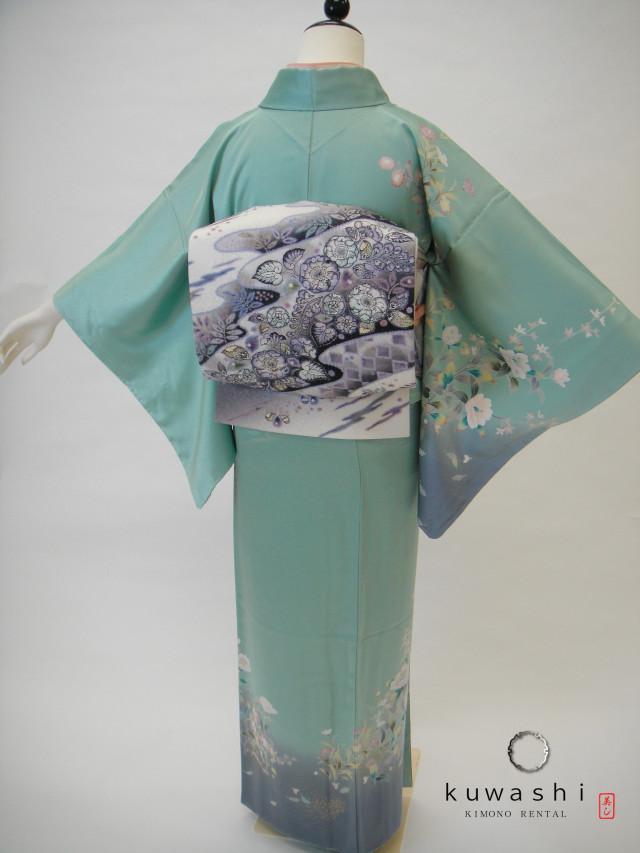 10014 ペパーミントグリーン正絹訪問着×辻が花袋帯セットの衣装画像2