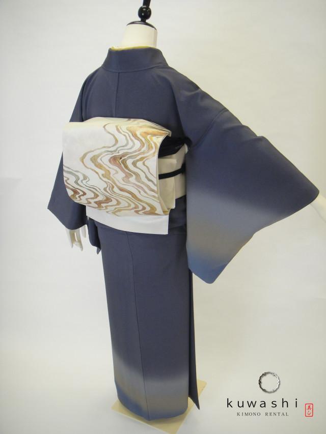 10016【レンタル 身長157cm~172cm】紺/ぼかし正絹付下訪問着金彩螺鈿流水袋帯フルセットの衣装画像2