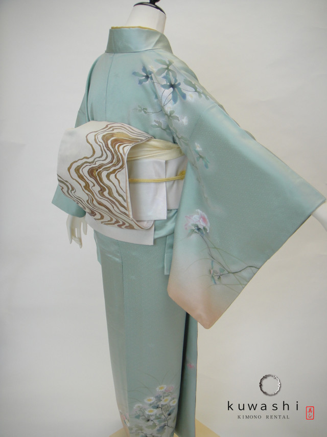 10026【レンタル身長145cm~160cm】グリーン×ベージュぼかし正絹訪問着袋帯セットの衣装画像2