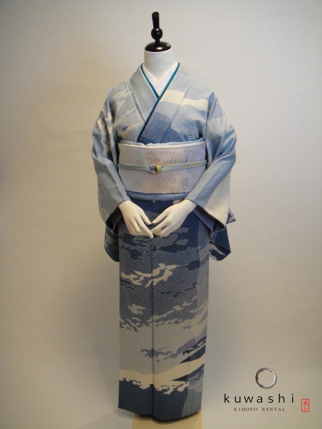 10101【レンタル着物】【身長155cm~170cm】青雲地紋正絹訪問着 唐織袋帯フルセットの衣装画像1