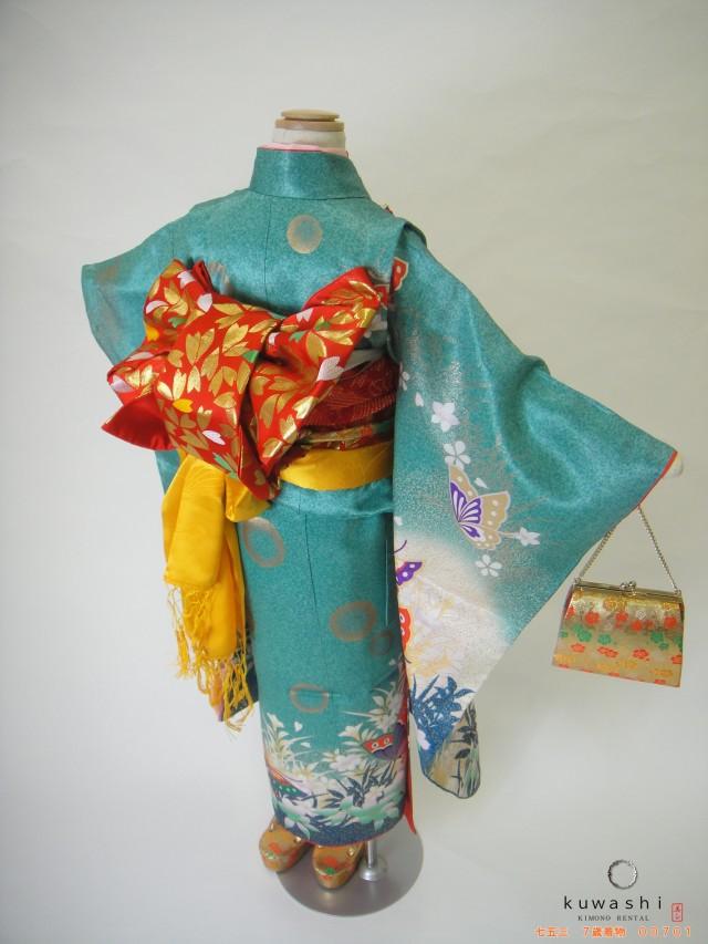 00701 エメラルドクリーン綸子蝶フルセットの衣装画像3