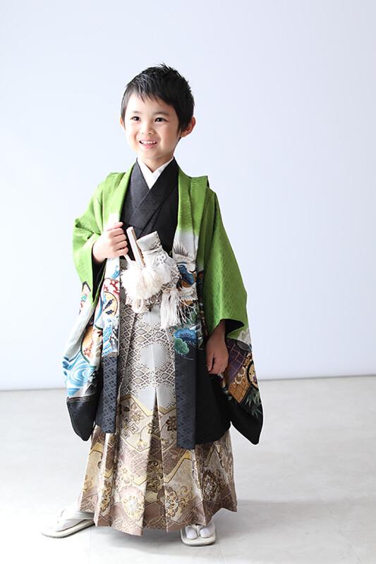 七五三 羽織袴(緑)の衣装画像1