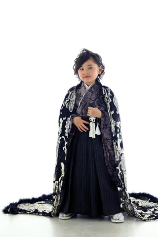 No.4525 七五三 羽織袴(黒)