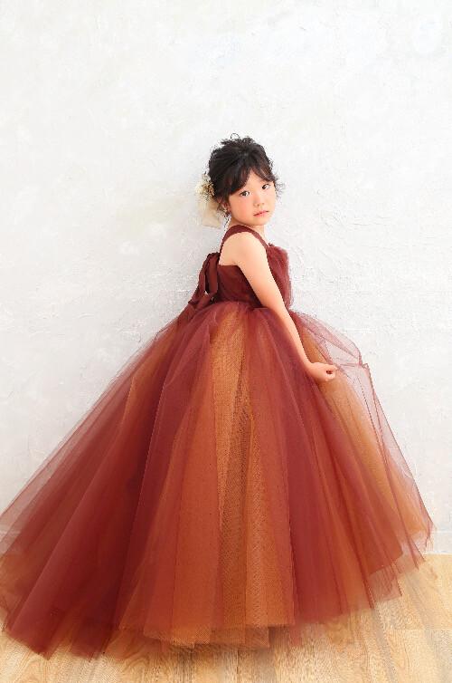 2021年新作7歳女の子ブラウンドレスの衣装画像1
