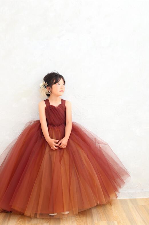 2021年新作7歳女の子ブラウンドレスの衣装画像2