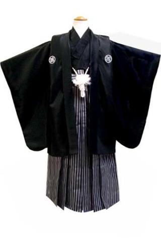 七五三着物レンタル(五歳)(ひさかたろまん)(黒紋付) No.5G-13