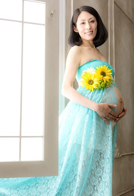 マタニティドレス ブルーグリーンの衣装画像1