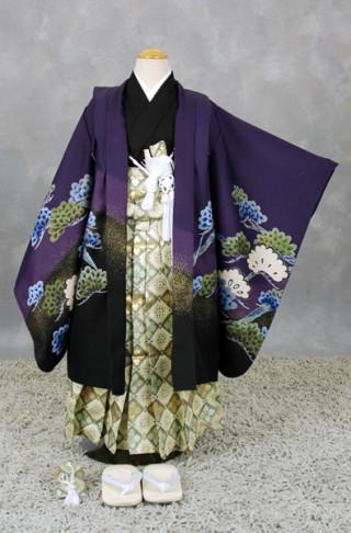 五歳祝い着セット 紫地裾ぼかし(松に鷹)袴(金茶と抹茶色)