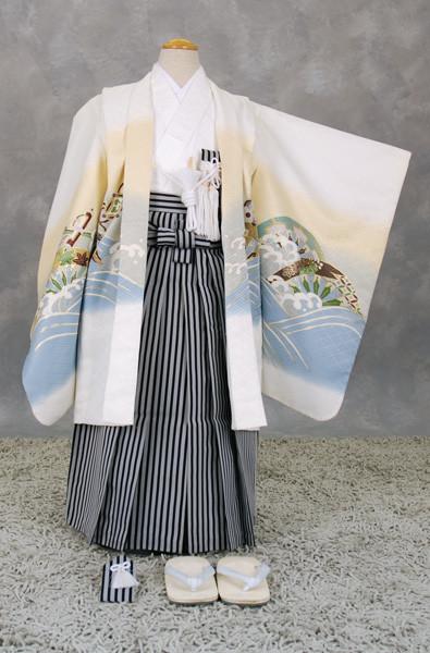 五歳祝い着セット (宝船・白地)の衣装画像1