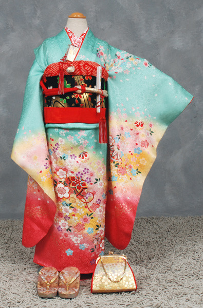 七歳祝い着セット 花・手まりの衣装画像1