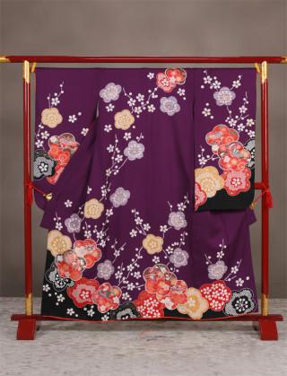 紫に梅(正絹)