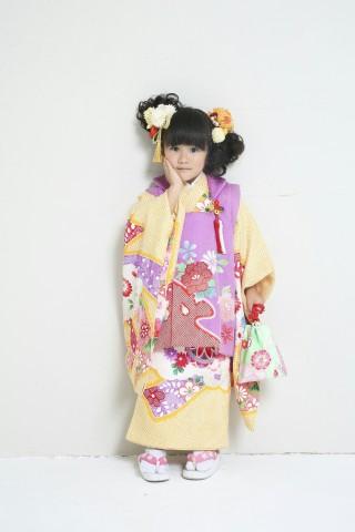 新作高級正絹3歳お被布着物 日葵