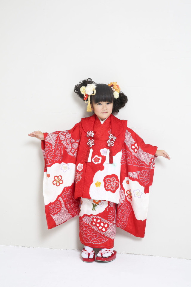 新作高級正絹お仕立て三歳着物 日葵の衣装画像1