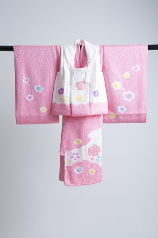 No.4845 新作高級正絹3歳お被布着物 日葵