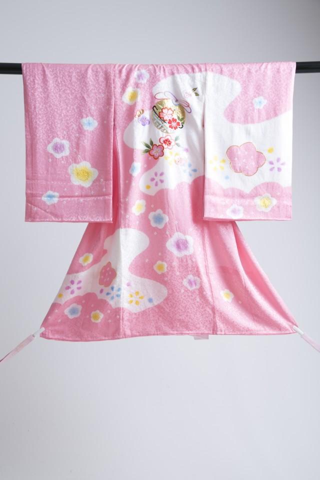 新作高級正絹3歳お被布着物 日葵の衣装画像3