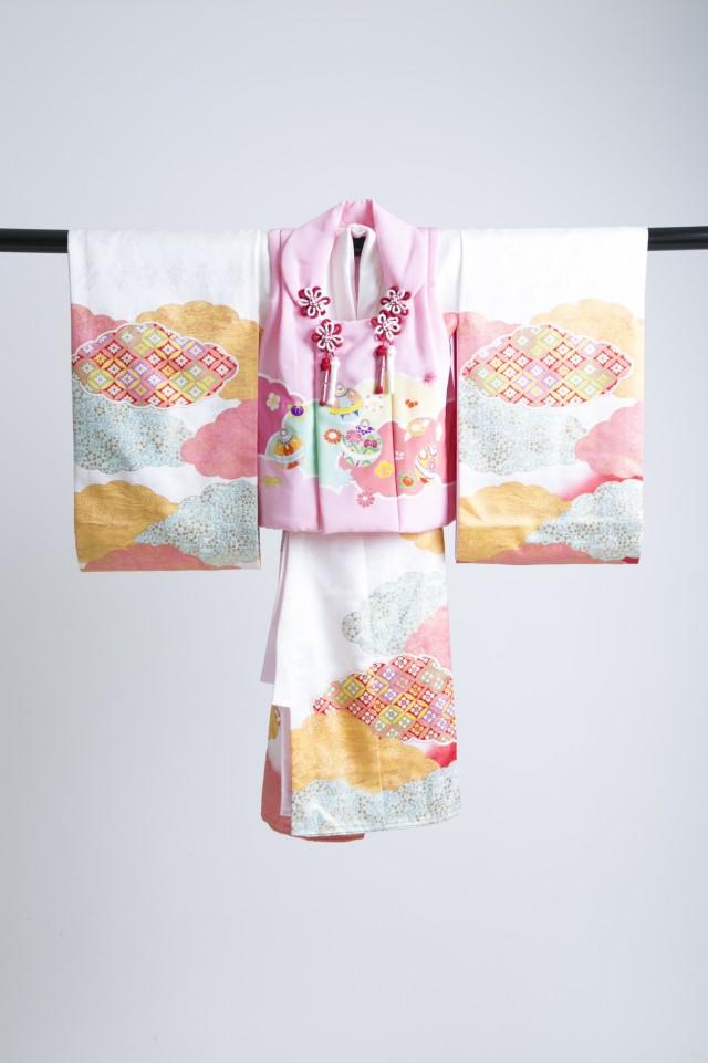 新作高級正絹3歳お被布着物 日葵の衣装画像1