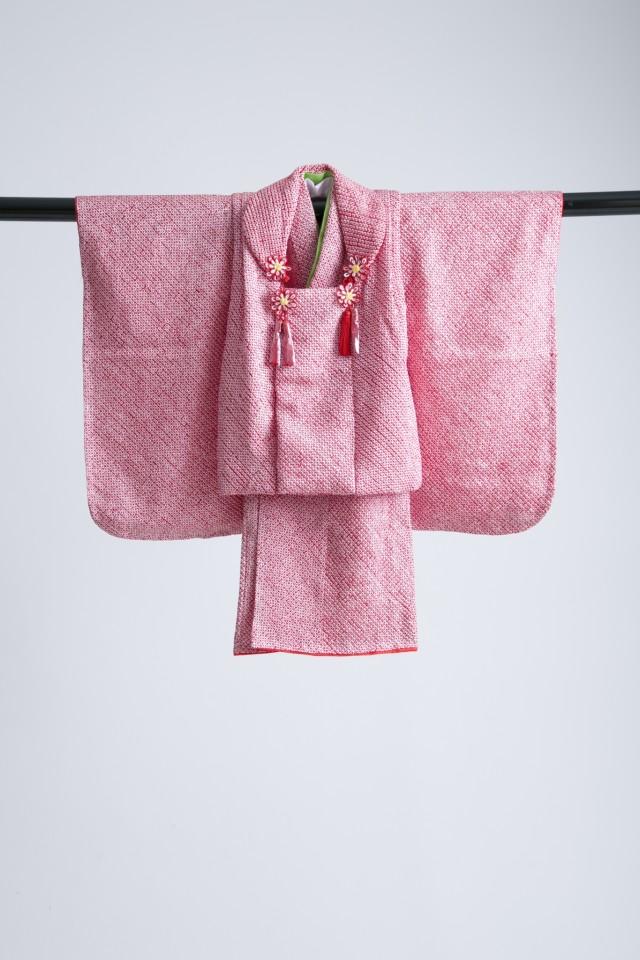新作高級正絹総絞り 3歳お被布着物 日葵の衣装画像1