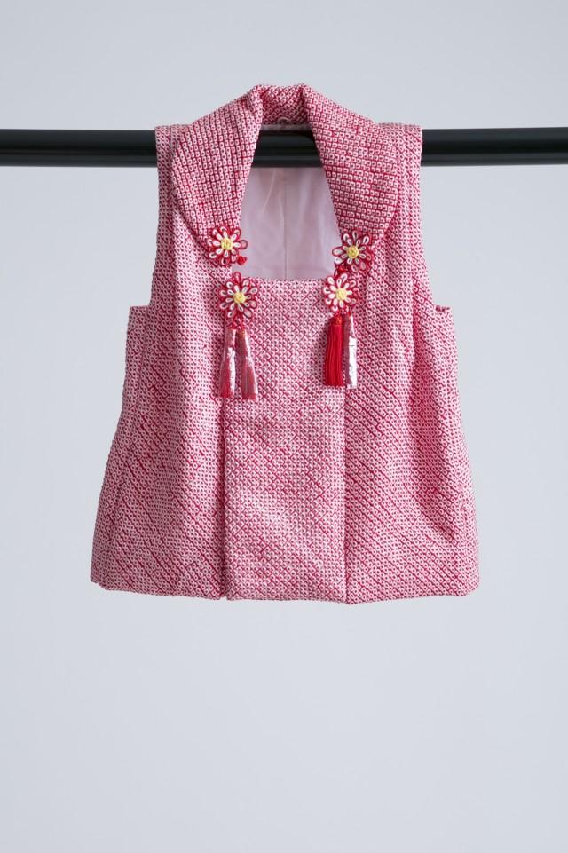 新作高級正絹総絞り 3歳お被布着物 日葵の衣装画像3