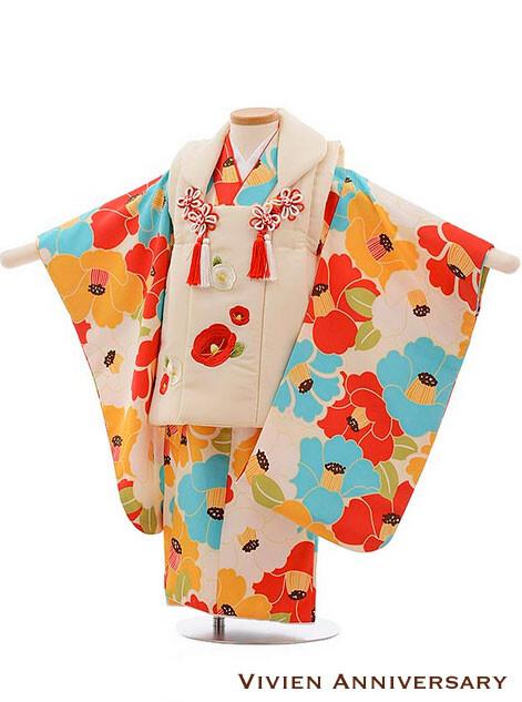 七五三 3歳女の子 被布 クリーム色×多色椿の衣装画像1