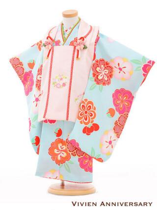 七五三 3歳女の子被布 ピンク×水色