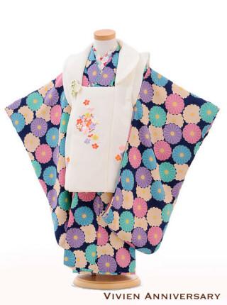 七五三 3歳女の子被布 紺地に白梅麻の葉刺繍