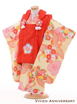 七五三レンタル 3歳女の子被布 赤×黄色鶴