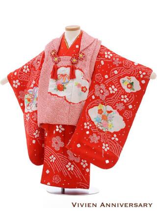 七五三レンタル 3歳女の子被布 正絹 赤絞り×刺しゅう