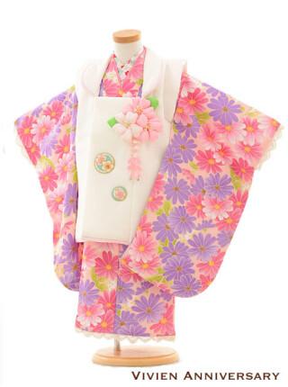 七五三レンタル 3歳女の子被布 白×ピンクパープル小花