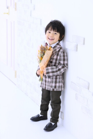 No.5771 3歳男の子:ギンガムチェックタキシード