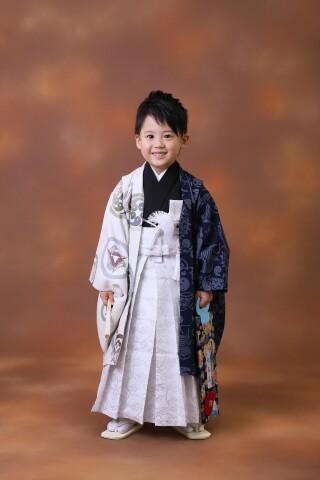 5歳男の子:白紺 家紋柄
